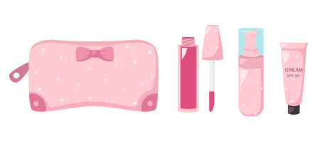 pouch: make up bag with cosmetics,illustration vector.