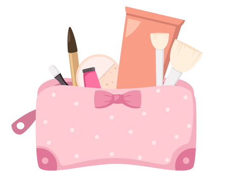 make up bag with cosmetics,illustration vector.