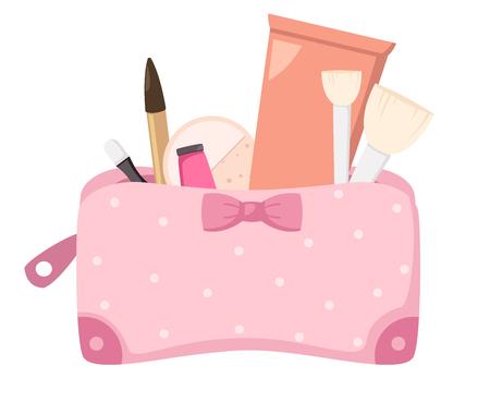 make up eyes: make up bag with cosmetics,illustration vector.