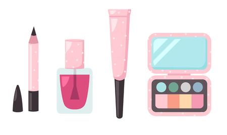lip: Illustration of isolated set cosmetics vector Illustration