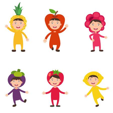illustration of isolated set costumes fruit kids on white background