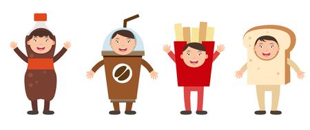 french fancy: illustration of isolated set costumes junk food kids on white background Illustration