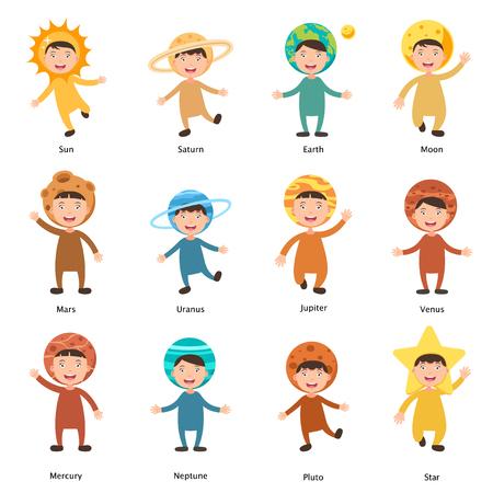 pluto: illustration of isolated set costumes solar system kids on white background