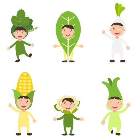 kids costume: illustration of isolated set costumes vegetable kids on white background Illustration
