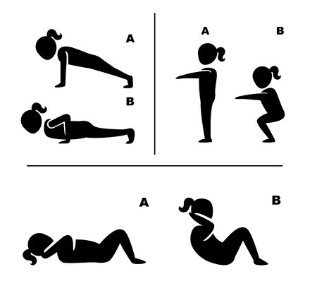 exercises: exercise poses for healthy pictograms illustration vector