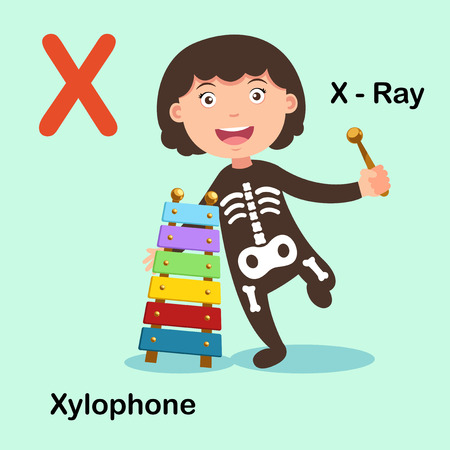 xx: Illustration Isolated Alphabet Letter X-X ray,Xylophone.vector