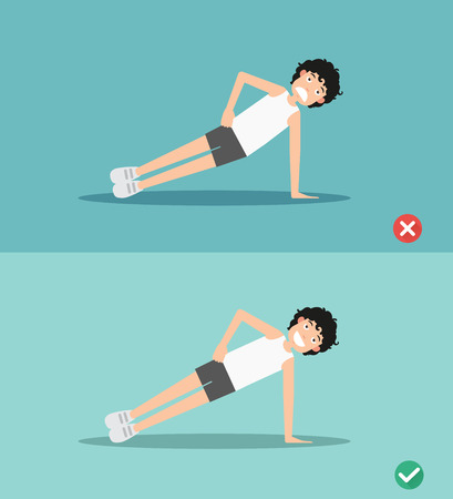 wrong and right side plank plank posture,vector illustration
