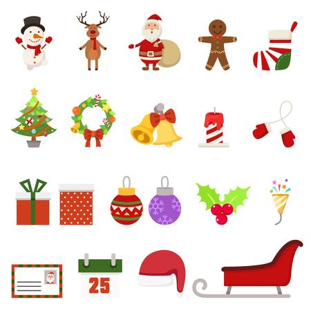 Christmas icons, vector illustration