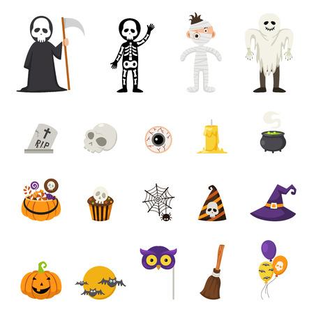Halloween icons, vector illustration