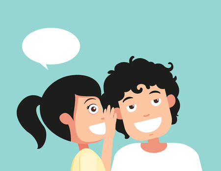 Speaking and listening, hearing and whisper, vector illustration  イラスト・ベクター素材