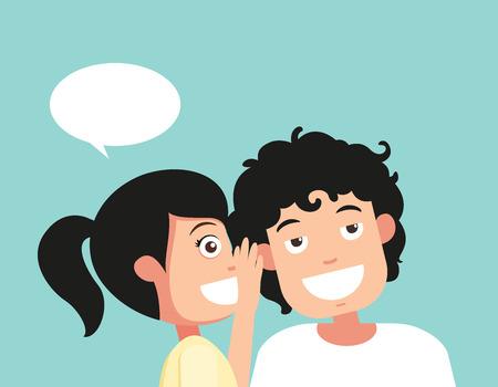 Speaking and listening, hearing and whisper, vector illustration Illustration