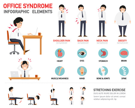 stretching: office syndrome infographic,vector illustration