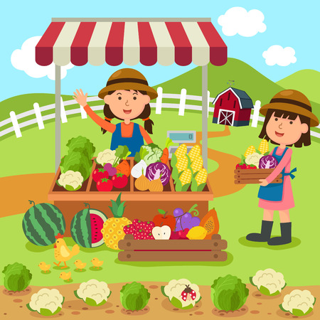 illustration cartoon woman sells fresh vegetables and fruits homemade products vector Vettoriali