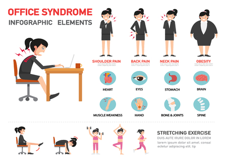 Office syndroom infographic, vector illustratie Stockfoto - 64198467