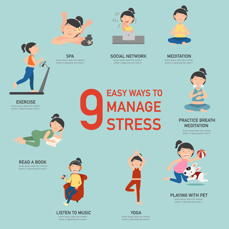 Easy ways to manage stress,infographic,vector illustration Ilustração