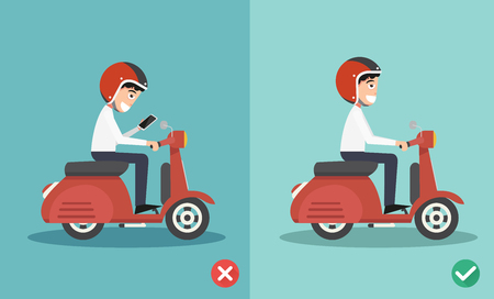 reckless: No texting ,No talking, Right and wrong ways riding to prevent car crashes.vector illustration