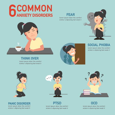 6 gemeinsame Angststörungen Infografik, Vektor-Illustration.