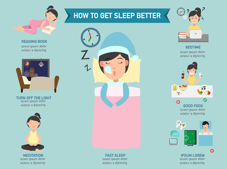 woman sleep: How to get sleep better infographic,vector illustration