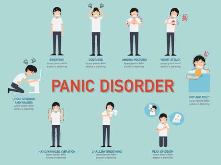 anger: Panic disorder infographic,vector illustration.