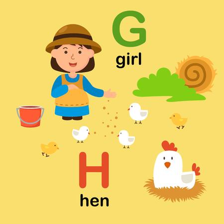 Alphabet Letter G-girl,H-hen,vector illustration