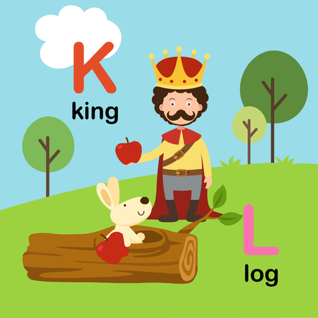 Alphabet Letter K-king,L-log,vector illustration