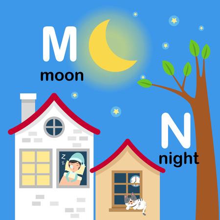 literacy: Alphabet Letter M-moon,N-night,vector illustration Illustration