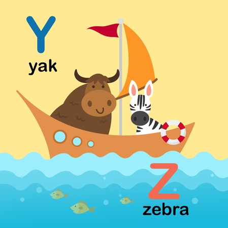Alphabet Letter Y-yak,Z-zebra,vector illustration 向量圖像