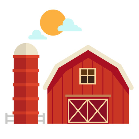 barns: illustration of isolated  barn house on white background vector