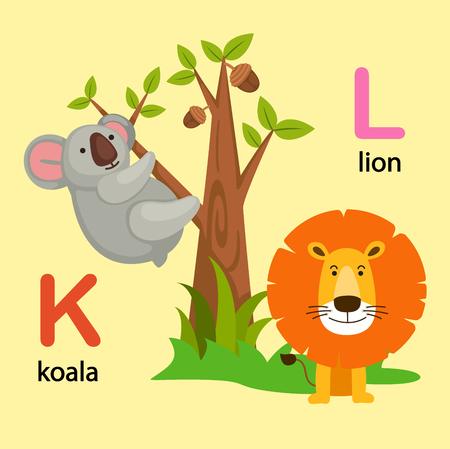 Illustration Isolated Alphabet Letter K-koala,L-lion vector