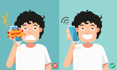 wrong and right ways.Do not phone call in charging battery vector illustration.
