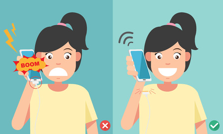 right on: wrong and right ways.Do not phone call in charging battery vector illustration.