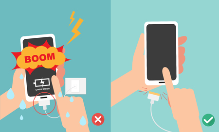Wrong and right ways.Do not play smart phone in charging battery with wet hands vector illustration. Illustration