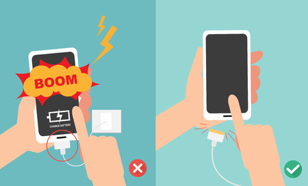 Wrong and right ways.Do not play smart phone in charging battery vector illustration. Illustration