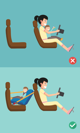 Best and worst for baby safety seat placing it in the car. vector illustration. Illustration