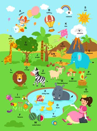 illustration alphabet a-z background vector