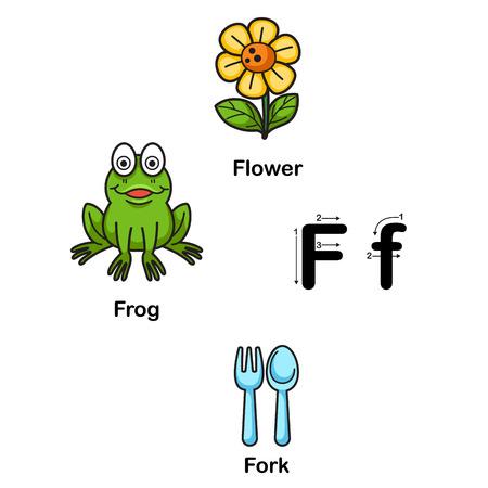 literacy: Alphabet Letter F-flower,frog,fork  illustration Illustration