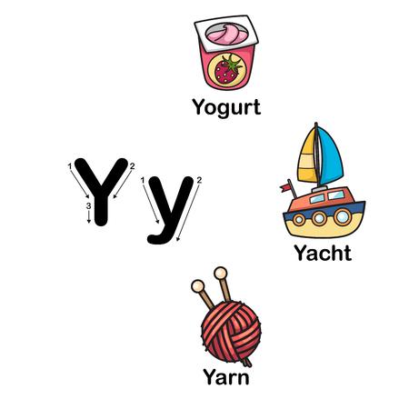 Alphabet Letter Y-yogurt,yacht,yarn vector illustration