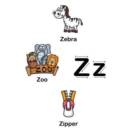 Alphabet Letter Z zebra,zoo,zipper  illustration Illustration
