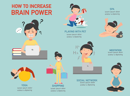 How to increase brain power infographic,vector illustration