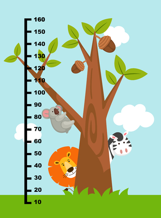 Meter wall with wild animals.vector illustration.