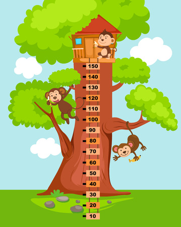 Meter wall with tree house.vector illustration.