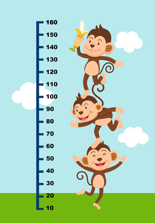 elevation meter: Meter wall with monkey.vector illustration.