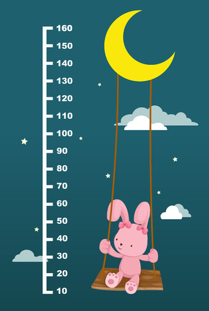 ruler: Meter wall with rabbit on swing hanging. vector illustration.