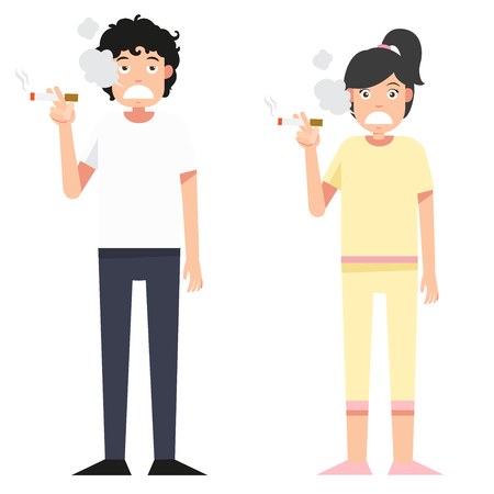 smoking woman: illustration isolated woman and man smoking a cigarette on white background vector