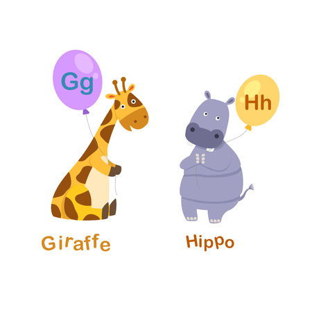 Illustration Isolated Alphabet Letter G-giraffe,H-hippo vector