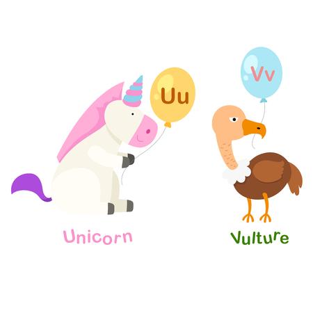 Illustration Isolated Alphabet Letter U-unicorn,,V-vulture vector