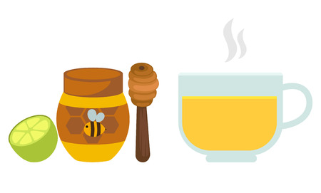 insect flies: lemon tea with honey in a glass.vector illustration.