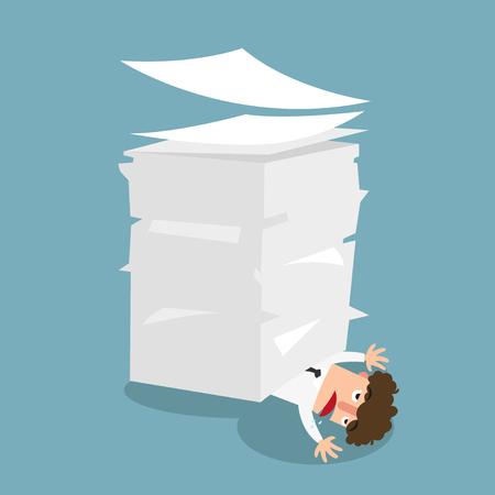 Biznesmen pod papierem, pojęcie dużo pracy ilustracji wektorowych. Ilustracje wektorowe