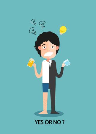 Ja oder Nein für Geschäftsleute arbeiten Begeisterung, Illustration, Vektor Standard-Bild - 73016883