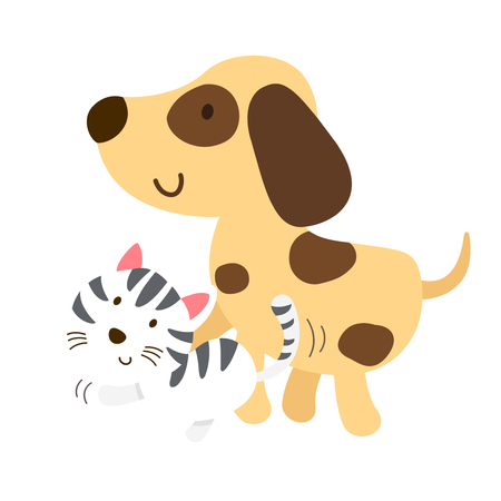 cat and dog vector illustration.